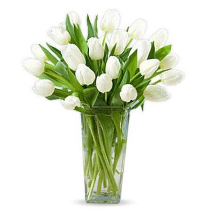 20 White Tulips: Tulip Flower Bouquet