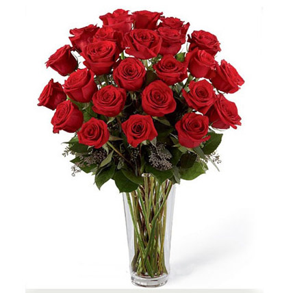 24 Red Roses Arrangement: Flower Arrangements