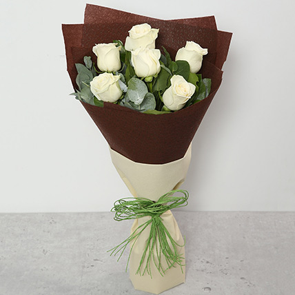 Bouquet Of White Roses: Flower Bouquet In Qatar