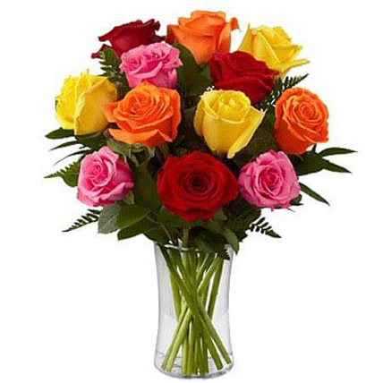 Dozen Mix Roses in a Glass:
