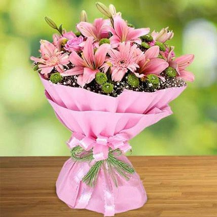 Pink Beauty: Lily Flower Bouquet