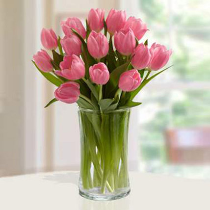 Pink Tulips Arrangement: Tulip Flower Bouquet