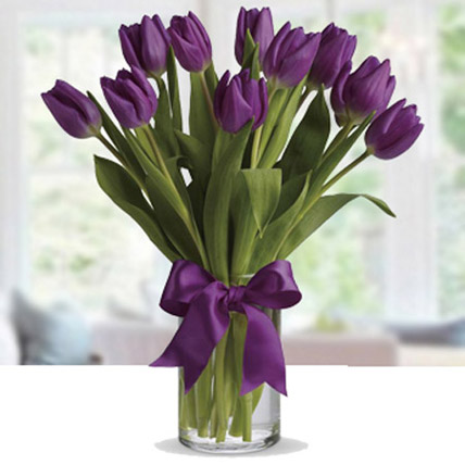 Purple Tulip Arrangement: Anniversary Flowers