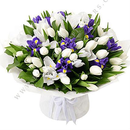 Blue Iris & White Tulips Bouquet: Tulip Flower Bouquet