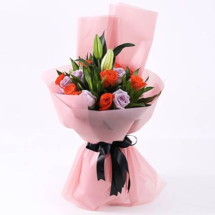 Bunch of Orange and Purple Roses: Hand Bouquets