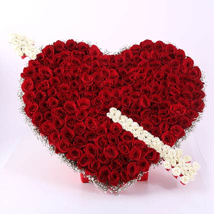 Cupid Heart Arrow Roses Arrangement: Flower Arrangements