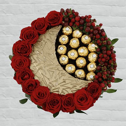 Red Roses & Rocher Arrangement: Flowers and Chocolates Combos