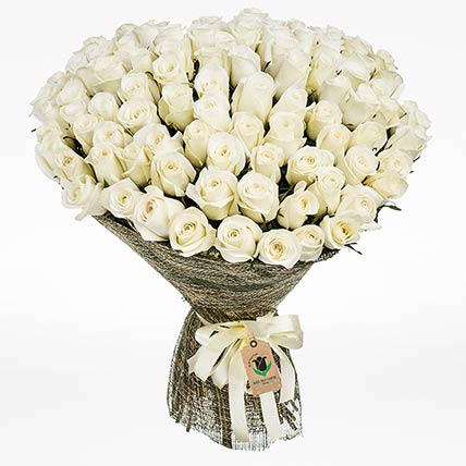 Elegant White Roses Bouquet:  Flower Bouquet