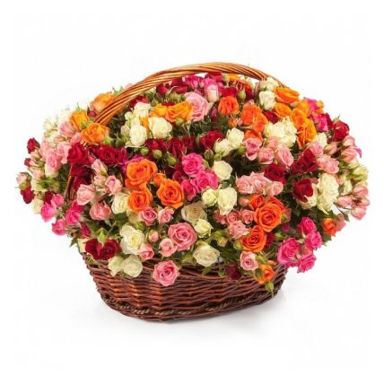 Magical Roses Basket: Flower Basket Arrangements