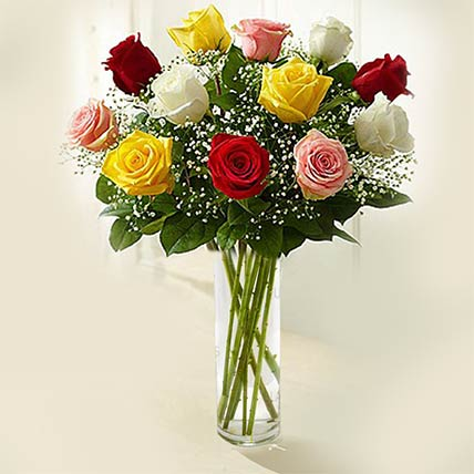 Rainbow Roses Vase: Flower Arrangements