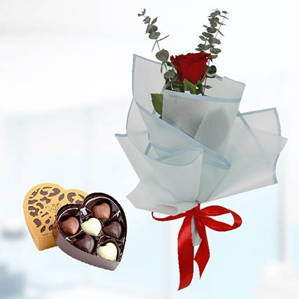 Red Rose Blue Wrap & Godiva Chocolates: