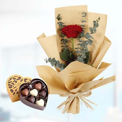 Red Rose Paper Wrap & Godiva Chocolates: Red Rose Flower