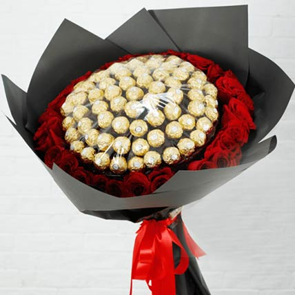 Red Roses & Ferrero Rocher Bouquet: Flowers and Chocolates Combos
