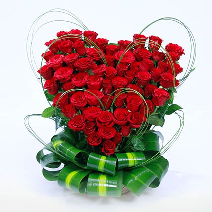 Red Roses Heart Shaped Arrangement: Flower Arrangements