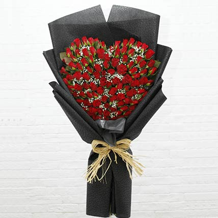 Red Roses Heart Shaped Bouquet: