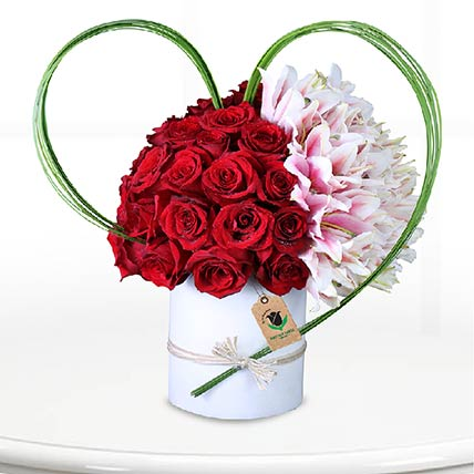 Red Roses & Pink Lilies Arrangement: Flower Box