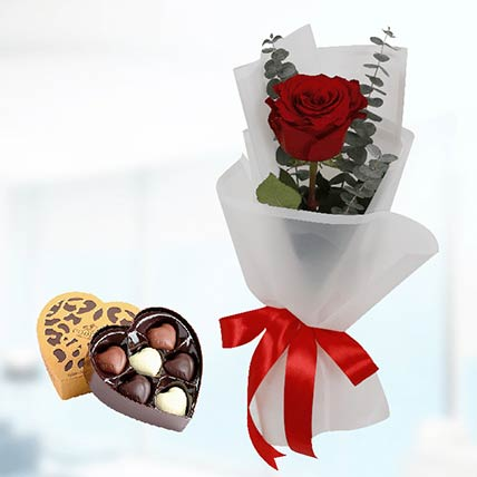 Red Rose White Wrap & Godiva Chocolates: