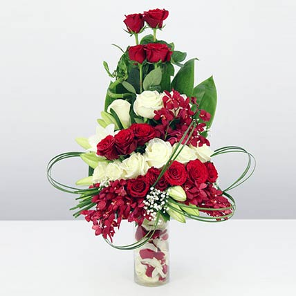 Red & White Flowers Vase: Orchid Flowers