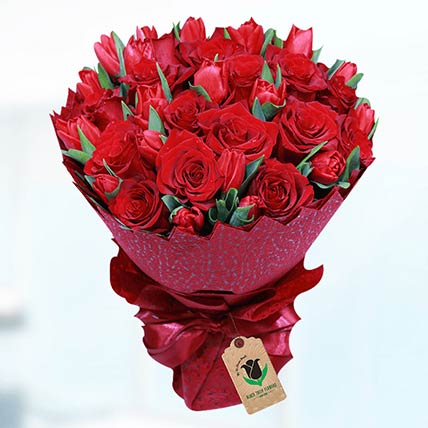 Romantic Red Flower Bouquet: Tulip Flower Bouquet