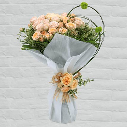 Stems Loving Peach Roses Bouquet:  Florist In Dukhan