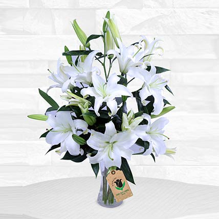 Stems White Lilies Vase: Flower Arrangements