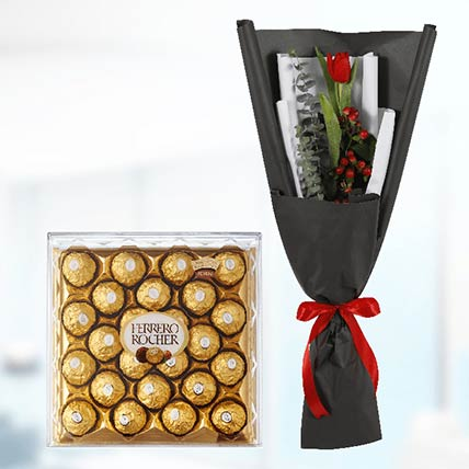 Tulip & Ferrero Rocher:  Gifts Delivery