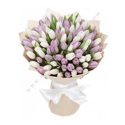 White & Purple Tulips: Tulip Flower Bouquet