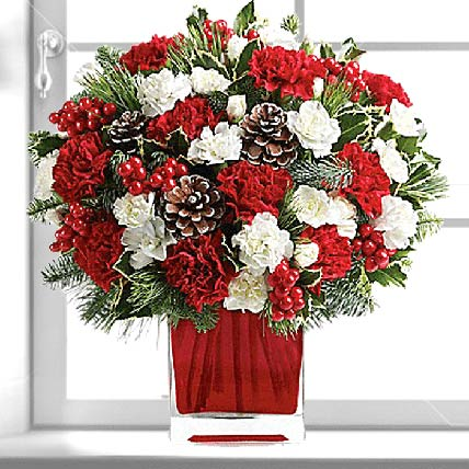Xmas Wishes Flower Vase:  Flower Bouquet
