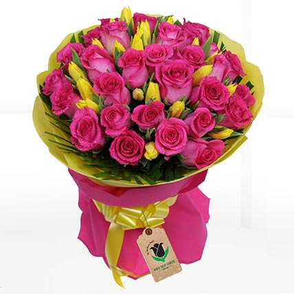 Yellow Tulips & Pink Roses Bouquet: Tulip Flower Bouquet