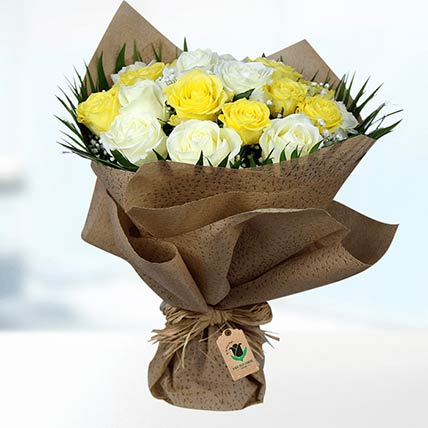 Yellow & White Roses Bouquet: Gift Shop in Qatar