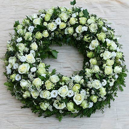 White Flowers Wreath:  Gifts Delivery