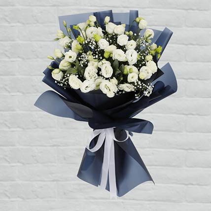 White Lisianthus Bouquet:  Flower Bouquet
