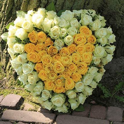 White & Yellow Roses Heart Shaped Arrangement:
