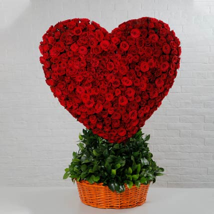 Basket Of Heart Red Rose: