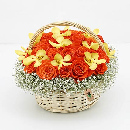 Basket Of Orange Roses: Basket Arrangements