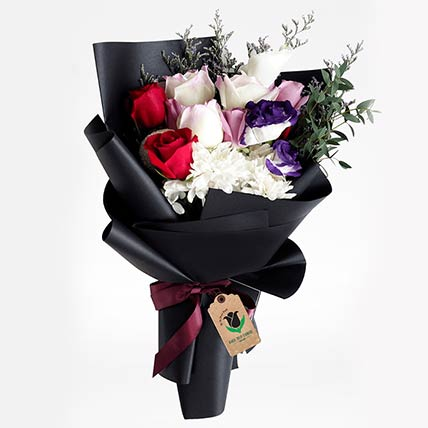 Black Wrap Mixed Flower Bouquet: Gift Shop in Qatar