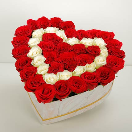 Elegant Heart Shaped Roses Box: Buy Mixed Flower