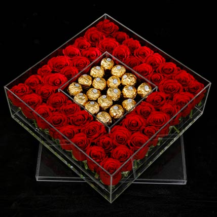 Ferrero Rocher & Red Roses Box: Gift Hamper Baskets
