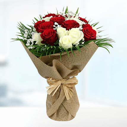 Graceful White & Red Roses Bouquet:  Flower Bouquet