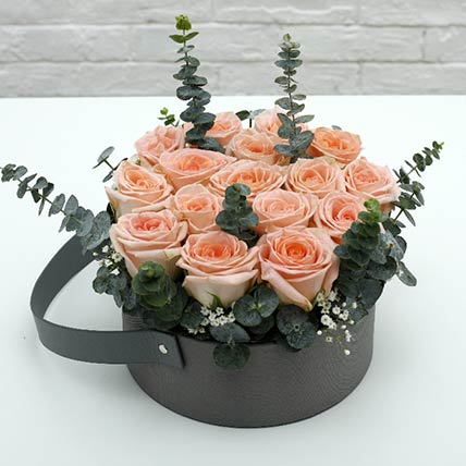 Light Pink Roses Basket: Flower Basket Arrangements