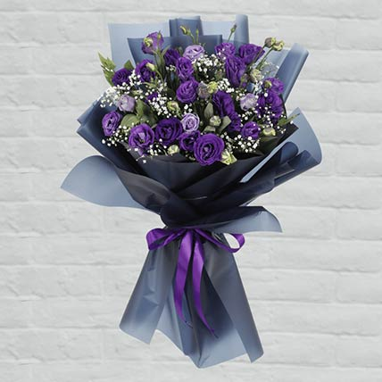 Purple Lisianthus Bouquet:  Personalised Gifts