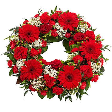 Red Flowers Wreath: Carnation Flower Bouquet