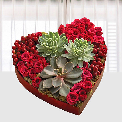 Special Heart Shaped Arrangement: Flower Box