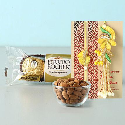 bhaiya bhabhi rakhi set with almonds and rocher: