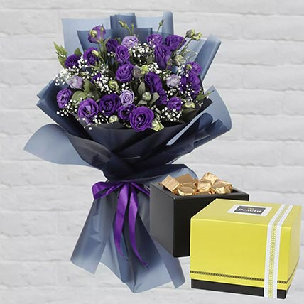 Purple Lisianthus & Patchi Chocolates: Diwali Gifts
