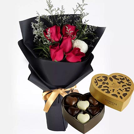 Romantic Red Roses & Godiva Chocolates: Same Day Gift Delivery In Qatar