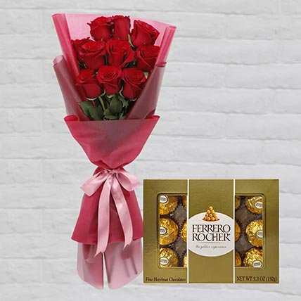 Romantic Red Roses Posy & Ferrero Rocher: Flowers and Chocolates Combos