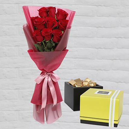 Romantic Red Roses Posy & Patchi Chocolates: Same Day Gift Delivery In Qatar