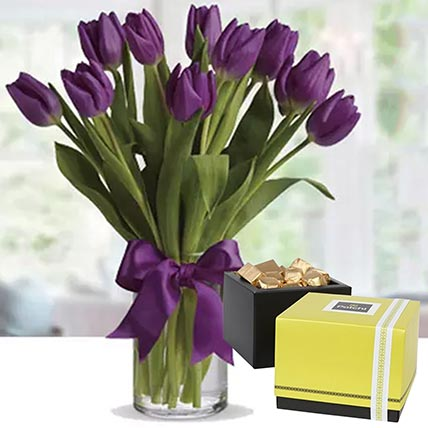 Royal Purple Tulips & Patchi Chocolates: Flowers and Chocolates Combos