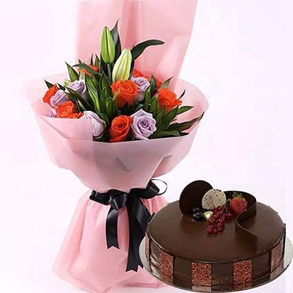 Chocolate Cake with Mixed Roses: Gift Combos
